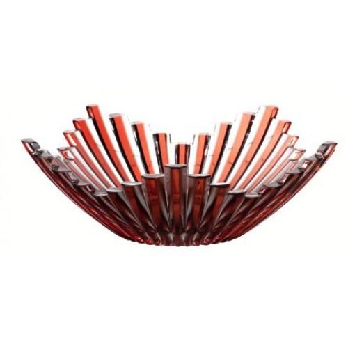 Mikádo kristálytál, rubinvörös színű, átmérője 230 mm