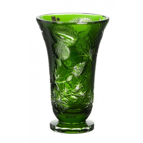 Thistle kristályváza, zöld színű, magassága 305 mm