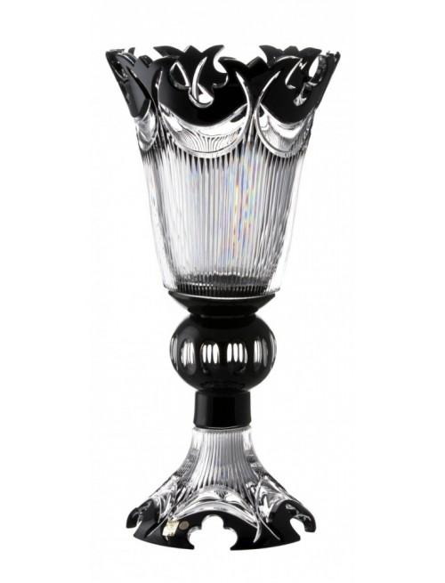 Diadém kristályváza, fekete színű, magassága 505 mm