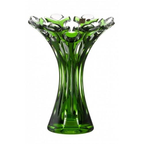 Flamenco kristályváza, zöld színű, magassága 250 mm