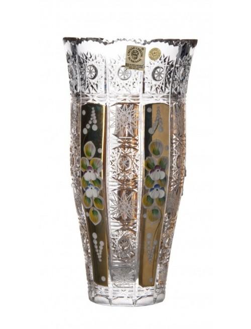 500K Arany III kristályváza, áttetsző kristály színű, magassága 205 mm