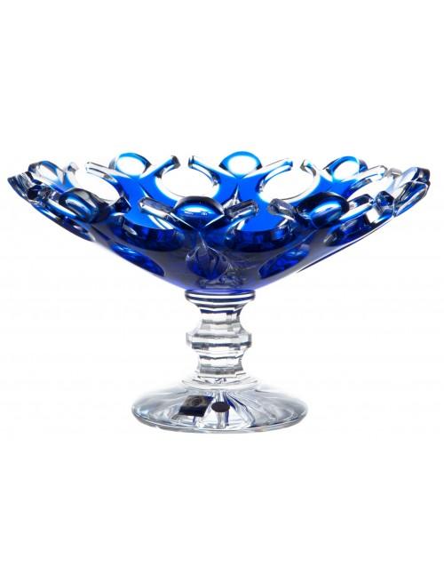 Flamenco kristály dísztál, kék színű, átmérője 230 mm