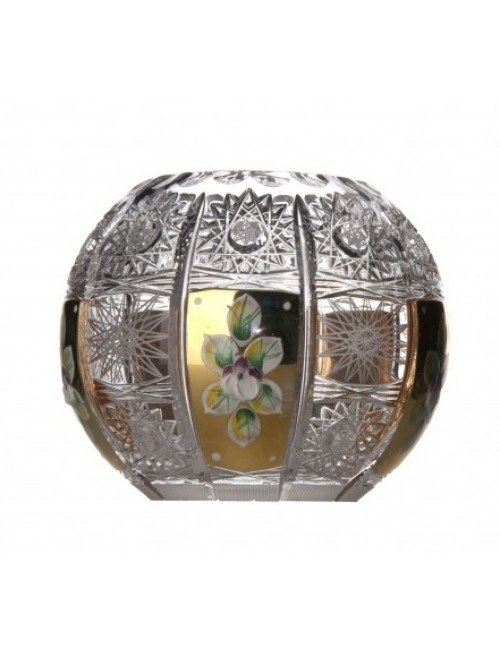 500K Arany kristályváza, áttetsző kristály színű, magassága 132 mm