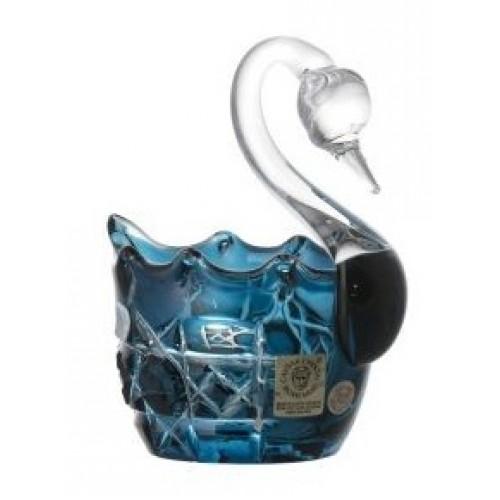 Octagon kristály hattyú, azúr színű, átmérője 80 mm