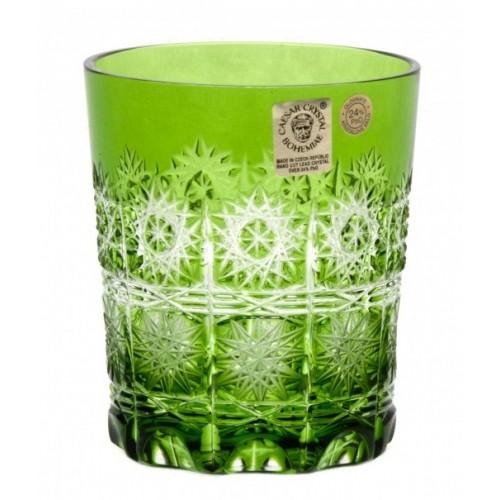 Paula kristálypohár, zöld színű, űrmértéke 290 ml