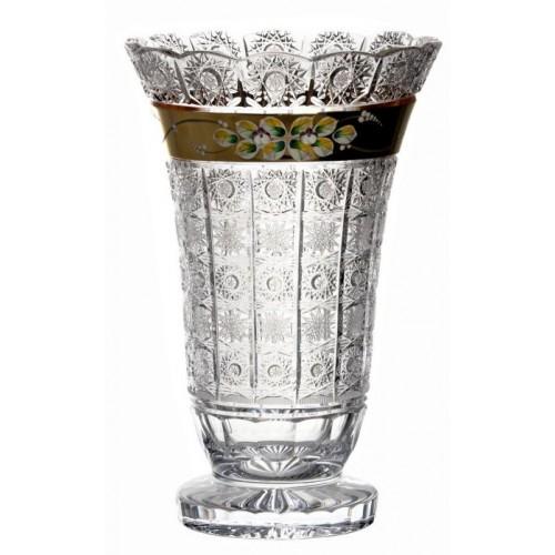 500K Arany kristályváza, áttetsző kristály színű, magassága 355 mm