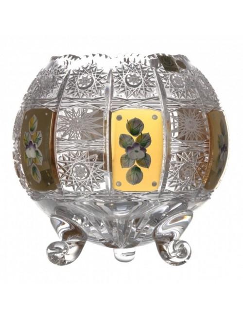 500K Arany kristályváza, áttetsző kristály színű, magassága 175 mm