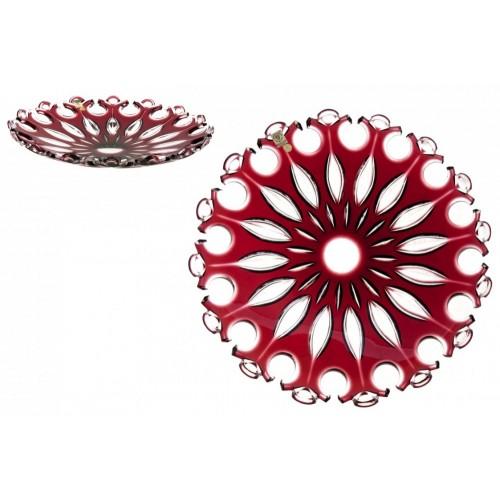 Flamenco kristálytányér, rubinvörös színű, átmérője 350 mm