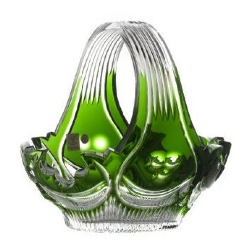 Diadém kristálykosár, zöld színű, átmérője 230 mm