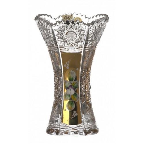 500K Arany kristályváza, áttetsző kristály színű, magassága 155 mm