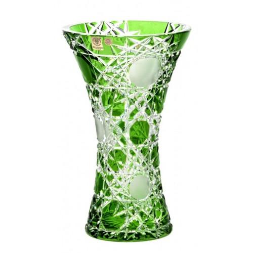 Flake kristályváza, zöld színű, magassága 255 mm