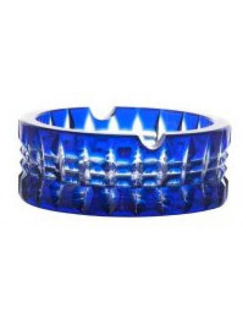 Brilant kristály hamutál, kék színű, átmérője 90 mm