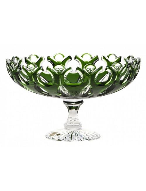 Flamenco kristály dísztál, zöld színű, átmérője 305 mm
