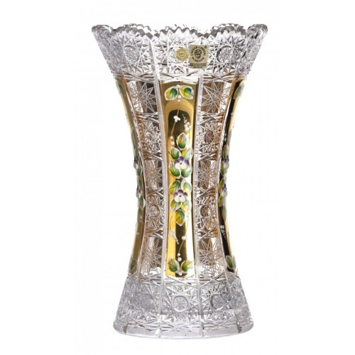 500K Arany II kristályváza, áttetsző kristály színű, magassága 305 mm