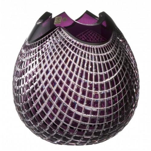 Quadrus kristályváza, lila színű, magassága 280 mm
