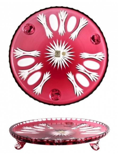 Dandelion kristálytányér, rubinvörös színű, átmérője 280 mm