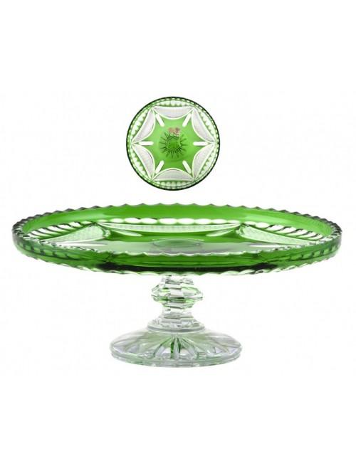 Ingrid kristály dísztál, zöld színű, átmérője 280 mm