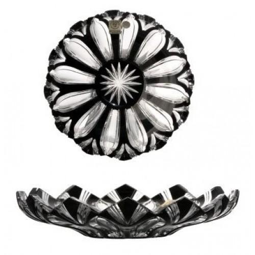 Lótusz kristálytányér, fekete színű, átmérője 180 mm