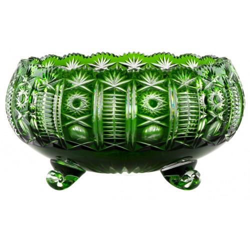Kendy kristálytál, zöld színű, átmérője 280 mm