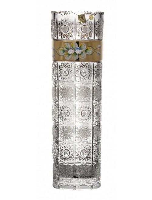 500K Arany kristályváza, áttetsző kristály színű, magassága 360 mm