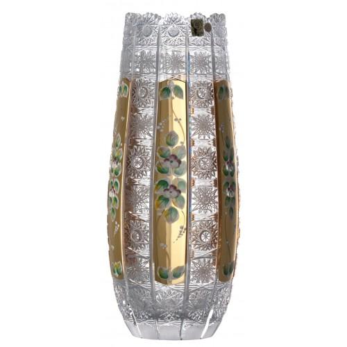 500K Arany kristályváza, áttetsző kristály színű, magassága 350 mm