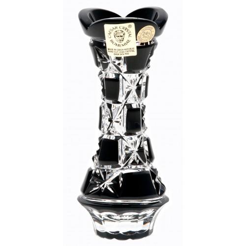 Lada kristályváza, fekete színű, magassága 104 mm