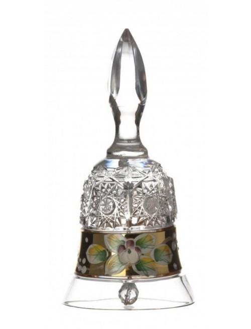 500K Arany kristálycsengő, áttetsző kristály színű, magassága 126 mm