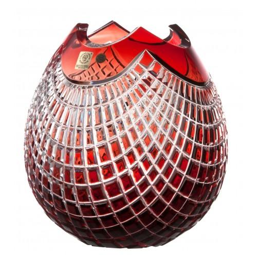 Quadrus kristályváza, rubinvörös színű, magassága 210 mm