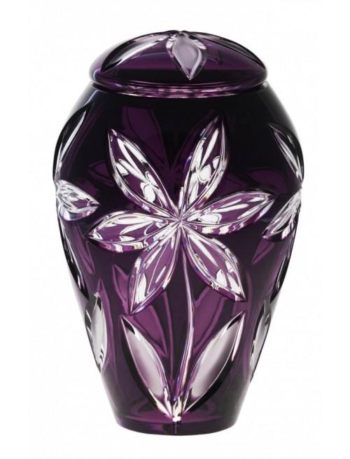 Linda kristályurna, lila színű, magassága 290 mm