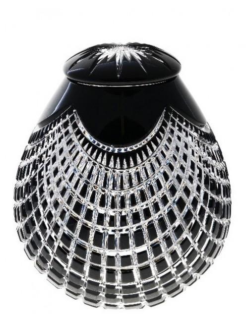Quadrus kristályurna, fekete színű, magassága 290 mm