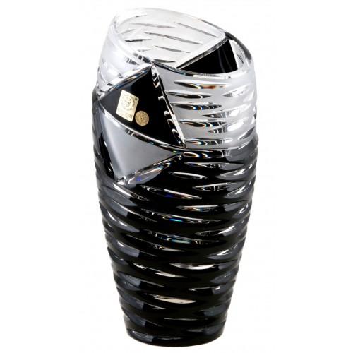 Mirage kristályváza, fekete színű, magassága 180 mm