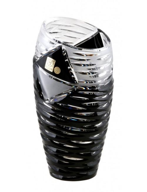 Mirage kristályváza, fekete színű, magassága 230 mm