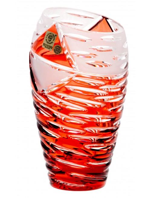 Mirage kristályváza, rubinvörös színű, magassága 230 mm