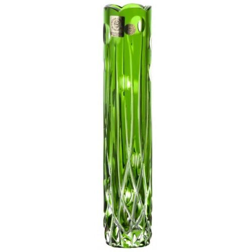 Heyday kristályváza, zöld színű, magassága 205 mm