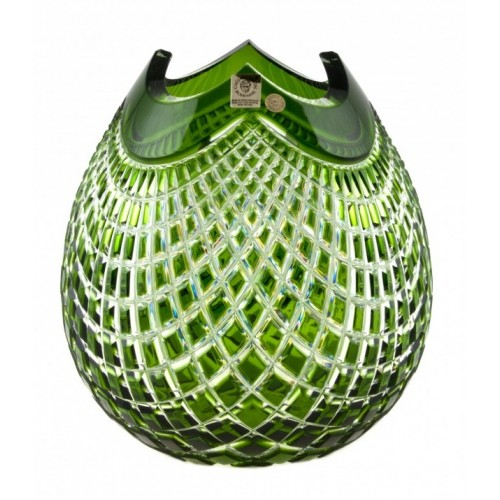 Quadrus kristályváza, zöld színű, magassága 210 mm