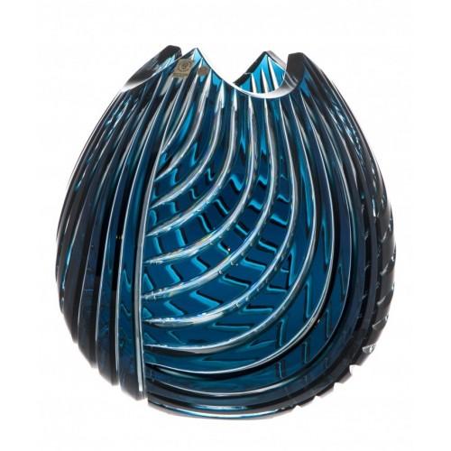 Linum kristályváza, azúr színű, magassága 280 mm