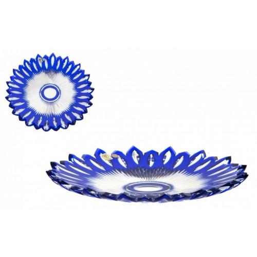 Flame kristálytányér, kék színű, átmérője 300 mm