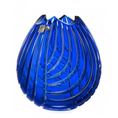 Linum kristályváza, kék színű, magassága 210 mm