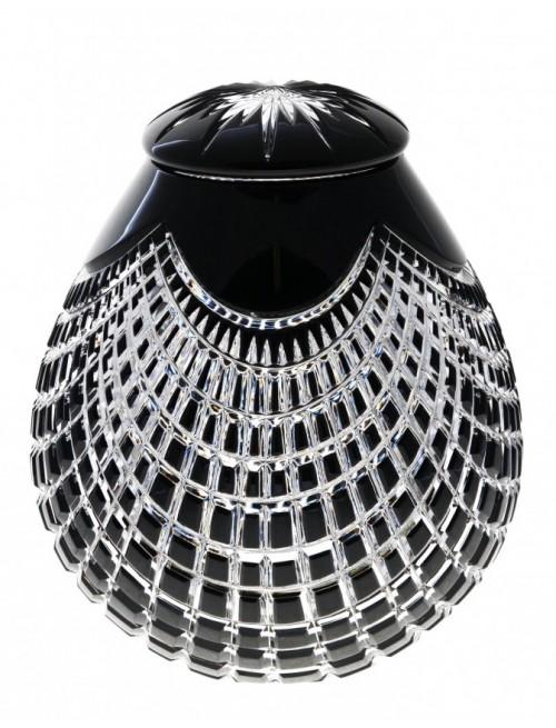 Quadrus kristályurna, fekete színű, magassága 230 mm