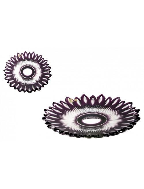 Flame kristálytányér, lila színű, átmérője 300 mm