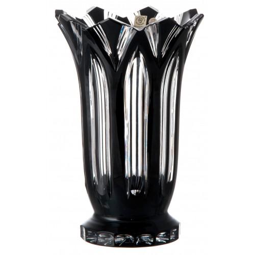 Lotos kristályváza, fekete színű, magassága 255 mm