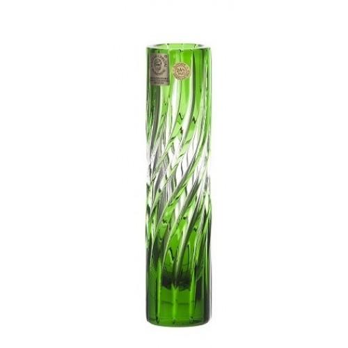 Zita kristályváza, zöld színű, magassága 155 mm