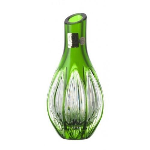 Ribwort kristályváza, zöld színű, magassága 150 mm