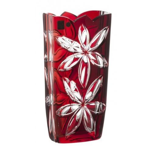 Linda kristályváza, rubinvörös színű, magassága 255 mm