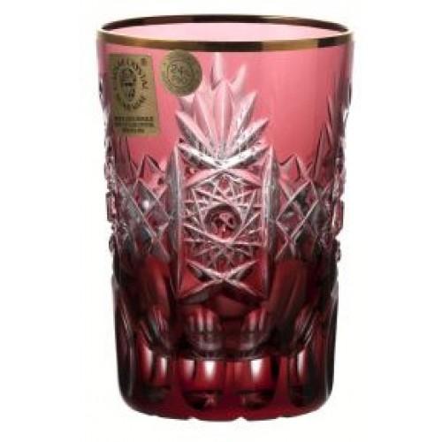 Kristálypohár, rubinvörös színű, űrmértéke 100 ml