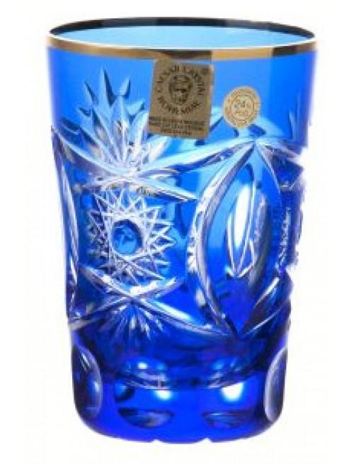 Kristálypohár, kék színű, űrmértéke 145 ml