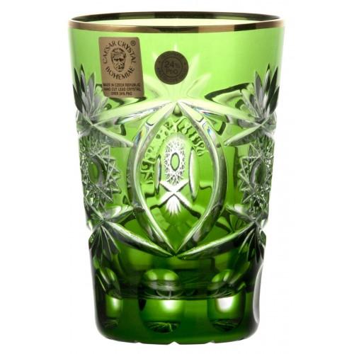 Kristálypohár, zöld színű, űrmértéke 145 ml