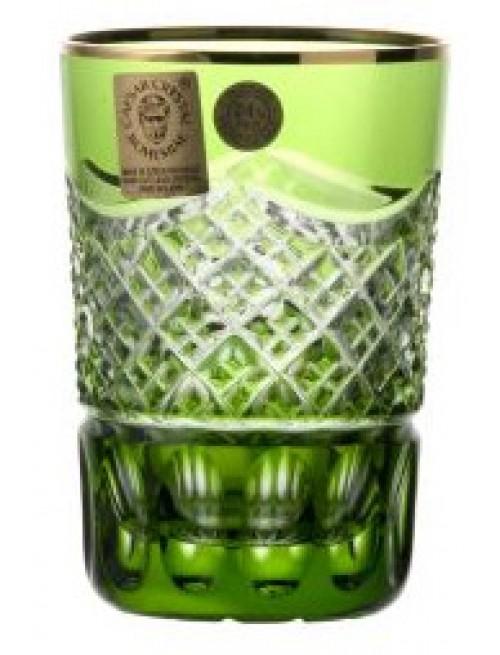 Kristálypohár, zöld színű, űrmértéke 100 ml