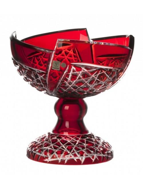 Fan kristály dísztál, rubinvörös színű, átmérője 240 mm