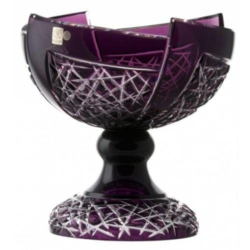 Fan kristály dísztál, lila színű, átmérője 240 mm